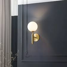 white and gold led wall sconce indoor