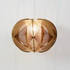 French Hanging Lamp Made Of Wood String 92699