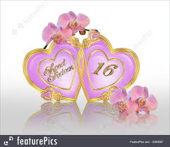cards and posters image and ilration position of pink orchids for sweet 16 birthday party
