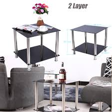 2 tier glass stainless steel small square display side coffee table shelf black