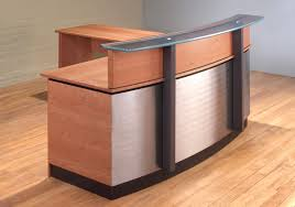 contemporary l shape reception desk with attached return in cherry wood stainless steel