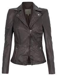 lyra grey leather biker jacket