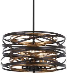 Sausalito 5 Light Pendant Minka Lavery 4675 111 Vortic Flow Dark Bronze With Mosaic Gold Interior 5 Light Pendant