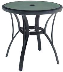 details about hampton bay commercial grade aluminum brown round bistro table glass tabletop