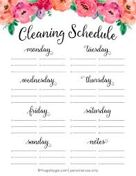 cleaning schedule printable free cleaning schedule printable cleaning checklist