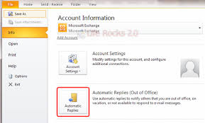 Automatic Respond How To Set Up Automatic Replies Out Of Office In Outlook 2010