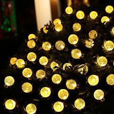 Solar Globe String Lights Outdoor 197 ft 30 LED Warm White Crystal