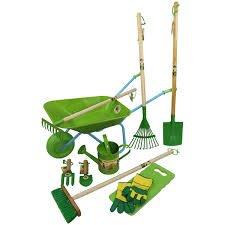 childrens wheelbarrow gardening tool and watering can set