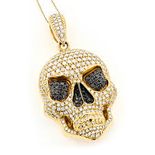 14k gold mens white black diamond skull pendant 9 17ct yellow image