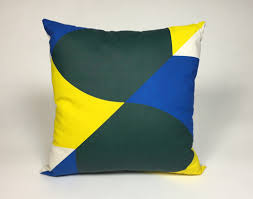 blue and green throw pillows. Overlapping Print Throw Pillow (Yellow Blue Green) And Green Pillows