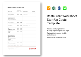 Startup Cost Template Restaurant Worksheet Start Up Costs Template In Word Excel