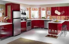 Red Kitchen Pendant Lights Red Glossy Cabinets Orange Peach Pattern Wallpaper Black Bar