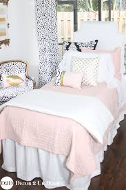 blush pink white a pop of black designer teen girls bedding