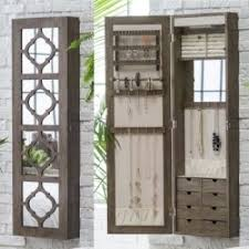 Belham Living Lighted Locking Quatrefoil Wall Mount Jewelry Armoire   Boxes At Hayneedle Wall Mounted Jewelry Cabinet E85