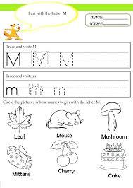 Letter M Worksheets For Kindergarten Picture Letter Match Letter M ...
