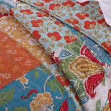 Vintage Country Floral Pattern Orange Red Cotton Reversible Quilt ... & ... Vintage Country Floral Patchwork Orange Red Cotton Quilt Shams Set ... Adamdwight.com