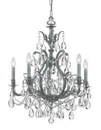 5 light pewter crystal chandelier dd in clear hand cut crystal