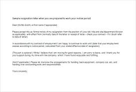 Free Letter Of Resignation Template Word Email Resignation Letter Template 9 Free Word Excel Format