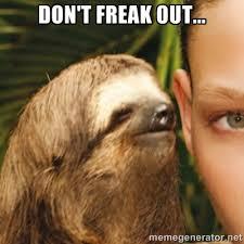 Don't freak out... - Whispering sloth   Meme Generator via Relatably.com