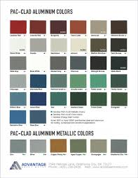 Pac Clad Metal Color Chart Pac Clad Aluminum Color Chart Advantage Sheet Metal In