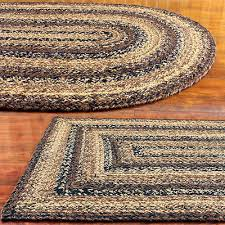 jute braided rug black brown and tan primitive country cappuccino