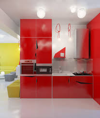lighting for small kitchen. Best Kitchen Lighting For Small Design With Red Cabinet Colors And Modern Flooring Options