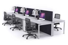 office workstations desks. 6 Person Workstation Desks With Acoustic Screens White Leg Horizon [1200L X 800W] Office Workstations JasonL