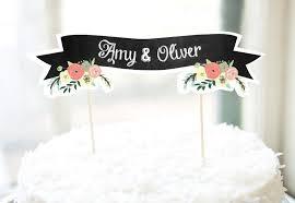 personalised cake banner printable chalkboard fl diy wedding bridal shower birthday