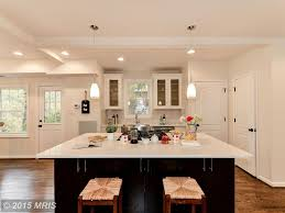 White Transitional Kitchens Kitchen With Flat Panel Cabinets Subway Tile In Washington Dc