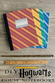 diy harry potter hogwarts notebooks with free printable covers for each house on polkadotchair