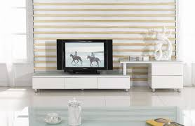 stunning small tv room design ideas with white varnished wooden tv cabinet on white laminated floor plus glass window also white varnished wooden frame