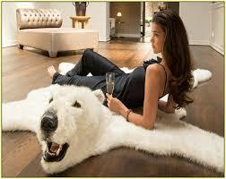 strikingly faux polar bear rug with head fake designs