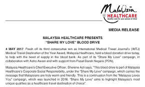 Malaysia Healthcare Presents Share My Love Blood Drive Malaysia Inspiration Message For My Healthcare And Love