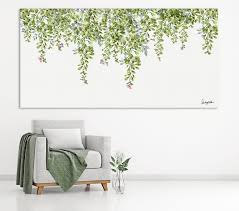 extra large wall art leaves watercolor