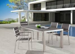 modern metal outdoor furniture. image of outstanding white aluminum patio dining table and a set modern metal outdoor chairs furniture