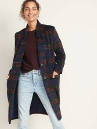 Relaxed Soft-Brushed <b>Plaid Long</b>-Line <b>Coat</b> for <b>Women</b> | Old Navy