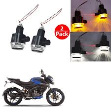 Bar End Lights For Pulsar Kandid Handle Bar End Dual Led Bike Turn Indicator Light
