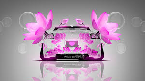 mitsubishi eclipse back flowers car