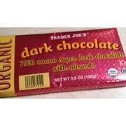 trader joe s dark chocolate organic 27 cocao super dark chocolate with almonds nutrition grade c
