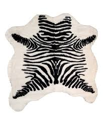 black white zebra stripe faux hide rug