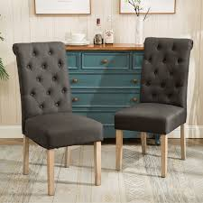 habit solid wood tufted parsons dining chairs set of 2