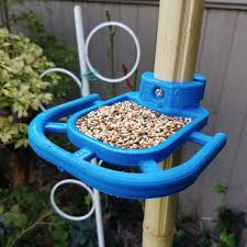 Small Blue Printer Garden Bird Feeder Pole Mounted