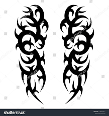 Tribal Symmetric Pattern Elements Tattoo Men Stock Vector Royalty