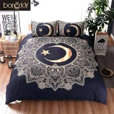 king size bed covers black and gold color bedding sets mandala cover moon star print queen