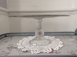 large clear glass pedestal cake stand
