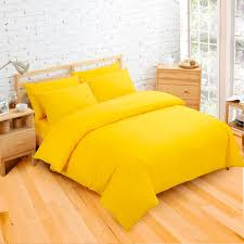 plain dyed bright yellow colour bedding duvet quilt cover set polyester cotton