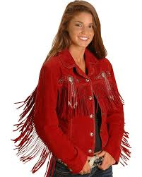 scully l152 womens small red boar leather studded beaded fringed western jacket