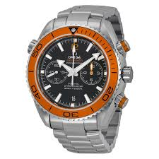 omega planet ocean chronograph automatic orange bezel men s watch