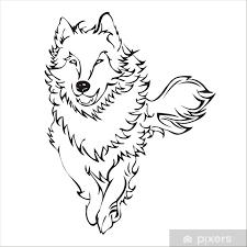 Fototapeta Vinylová Wolf Run Tetování Vektor