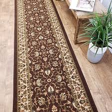 custom cut 31 inch wide by 14 feet long runner brown traditional non slip non skid rubber backed stair hallway kitchen carpet runner rug choose your